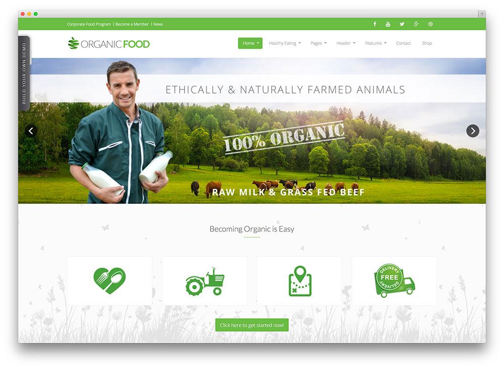 Organik Tarım Çiftlik Web Sitesi Örnekleri Organic Food, Responsive WordPress Theme